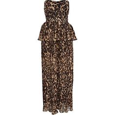 Brown leopard print peplum maxi dress - cover-ups - swimwear / beachwear - women