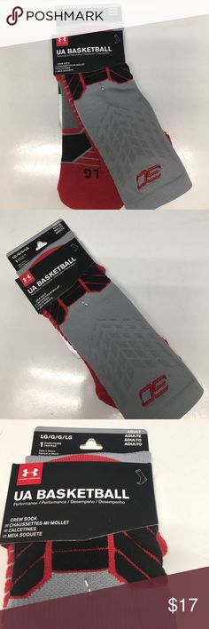 🆕 Men's L Under Armour Basketball S Curry Socks New with tags | Men's size Large | Under Armour UA Basketball Crew Socks | Steph Curry | UPC: 783466310974 | MSRP $19.99 + Tax | Color: Red, Black & gray | Style: 1292879 Under Armour Underwear & Socks Athletic Socks