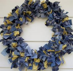 Fluffy Denim rag tied Wreath for when I have a house where people come in my front door again!  Like the addition of yellow ticking and plaids, too.  Could also use red instead of yellow (or orange or pink or any color)