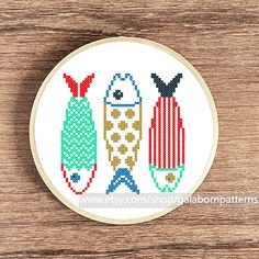 Counted cross stitch pattern PDF - Fishes make wishes - Nautical - Sea life