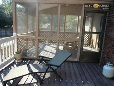 Half screened in porch, half deck. We have this now and I love it! Gonna miss it when we move