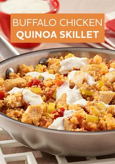 Bring some heat to the dinner table tonight with this Buffalo Chicken Quinoa Skillet recipe—ready to enjoy in just 30 minutes!