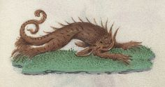 Rainbow coloured beasts from 15th century Book of Hours | The Public Domain Review...the catfish are crawling forth from the muck...