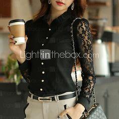 Mulheres Camisa Casual Plus Sizes   Sensual Todas as Estações 34362552ceab