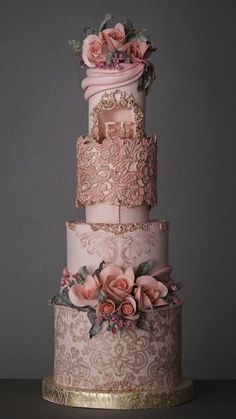 The Chic Technique: Dusty pink wedding cake Elegant Wedding Cakes, Elegant Cakes, Beautiful Wedding Cakes, Gorgeous Cakes, Wedding Cake Designs, Pretty Cakes, Amazing Cakes, Art Deco Wedding Cakes, Cake Wedding
