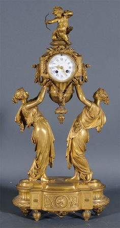 French Figural Bronze Mantle Clock $12,650 at Fairfield Auction www.fairfieldauction.com