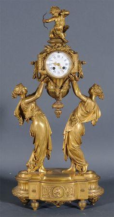 French Figural Bronze Mantle Clock $12,650 at Fairfield Auction www.fairfieldauction.com
