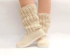 Crochet Boots Shoes for the Street Woman Boho Style Made to Order Lace Boots. $117.89, via Etsy.