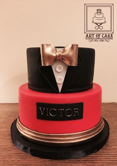 Tuxedo, James Bond 007 Cake with gold and red accents