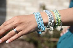 Xazzles Wrist Wrap Bracelet Turquoise Leather and Silver Sparkle with Charm. $27.00, via Etsy.