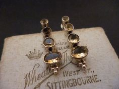 "Beautiful vintage yellow quartz stud earrings - 925 - sterling silver - 1.1"" top to bottom by MalvernJewellery on Etsy"