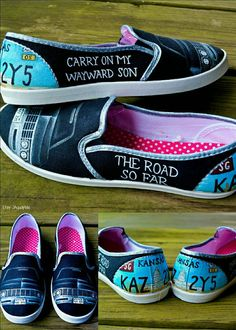 Supernatural Impala Hand Painted Shoes. Black SPN slip ons with Impala and car tag details. Dean and Sam. Carry on My Wayward Son and The road so far quotes on the sides.