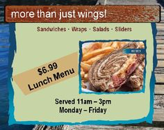 It's back... Our $6.99 lunch menu. Come get you some! #SeeYaLaterAtGAtors