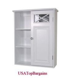 Get organized in the bathroom and lend your space an elegant vibe with this white wood wall cabinet. This cabinet has lots of room for toiletries and bathroom essentials and features a simplistic design with crisscross accents for added visual appeal. Wall Mounted Bathroom Cabinets, Bathroom Shelf Decor, Bathroom Storage Shelves, Toilet Storage, Bathroom Styling, Bedroom Storage, Storage Cabinets, Bathroom Furniture, Tall Cabinet Storage