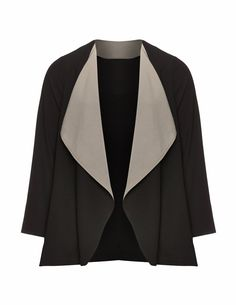 Manon Baptiste Veste ouverte coupe trapèze en noir / gris taupe