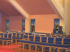 Church window film design panel) with deluxe medallion and added round accent medallion in the top Stained Glass Window Film, Church Windows, Window Films, Gallery, Top, Design, Decor, Decoration, Decorating