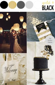 Pretty Palette | Gold   Black Wedding Inspiration http://www.ohlovelyday.com/2013/09/gold-black-wedding-inspiration.html