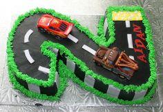number 2 (two) Cars birthday cake — Children's Birthday Cakes