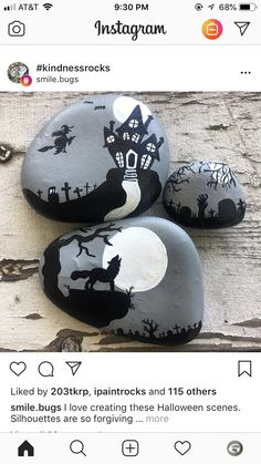 haunted house rock painting peints fleurs Easy Halloween Crafts for Kids to Make - Rock Painting Rock Painting Patterns, Rock Painting Ideas Easy, Rock Painting Designs, Pebble Painting, Pebble Art, Stone Painting, Halloween Crafts For Kids To Make, Halloween Rocks, Halloween Kids