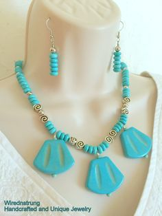 Turquoise Magnesite Beaded Necklace, 20% off thru July