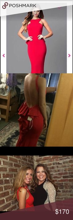 Red Formal Dress Really pretty, unaltered, worn just once for my formal this spring. Paid $280 for it, would like $170, but just like every other thing I'm selling make me an offer and we'll work something out! Size 2 but its jersey so could work on a 4 easily. Xscape Dresses Prom