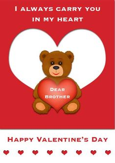 Printable Valentine's Day card for brother - my-free-printable-cards.com