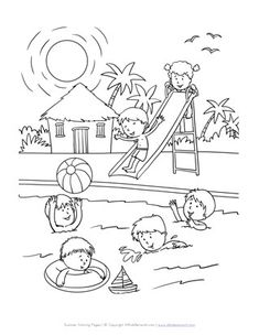 Summer Coloring Pages - Print Summer Pictures to Color Summer Coloring Sheets, Coloring Pages For Boys, Coloring Book Pages, Adult Coloring, Art Drawings For Kids, Drawing For Kids, Pool Colors, Summer Colors, Summer Season Drawing