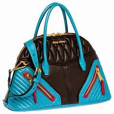 eff34e190ae5 Miu Miu Nappa Biker Top Handle Bag in Black Blue Matelasse Leather Purse  Handbag RN1006 F0010