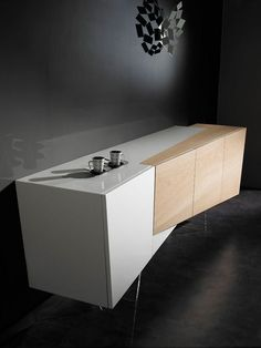 ALLIANCE SIDEBOARD BY ERWAN PÉRON - An angular sideboard from the new french design brand that combines oak and a white Daquacryl veneer.