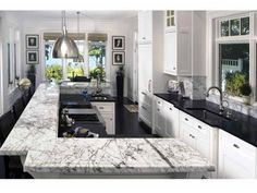 Love the two different granite tops, really cool idea