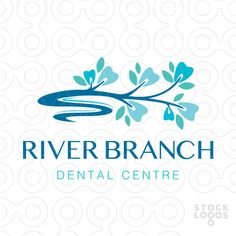 Beautiful dental theme logo design. Single tree brand that flows to form a curving and river. Colorful leaves and blossoms designed to look like teeth.
