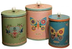 Keep your biscuits safe from prying hands or your tea and coffee fresh in these colourful tins, featuring quirky retro designs. Kitchen Canister Sets, Tea Canisters, Storage Canisters, Jar Storage, Stainless Steel Canisters, Tea Jar, Shabby Chic Style, Pillar Candles, 3 Piece