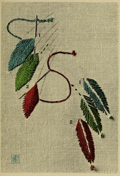 """Feathers! The front and back of an embroidery stitch example. From the public domain book, """"Points d'anciennes broderies anglaises (1909)."""""""