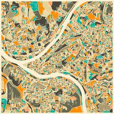 Pittsburgh Map Art Print by Jazzberry Blue   Society6