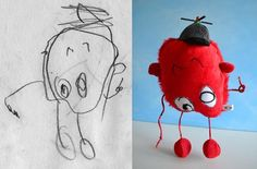 This is just AMAZING -  toys made based on children's own drawings !!! Unique and special.