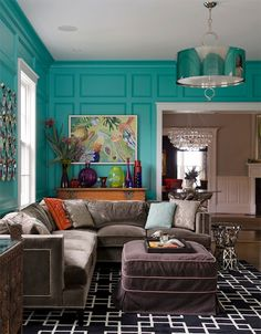 Olson Lewis - living rooms - tiffany blue walls, tiffany blue wall color, hardwood floors, brown velvet sectional, brown velvet sectional wi...