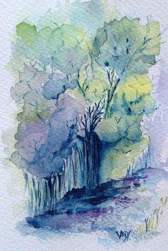 Woodland Path. Watercolour by Vandy Massey