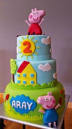 yourcakes: Tarta de Peppa pig There exists a new pig around town, plus her name Peppa Pig Birthday Outfit, Peppa Pig Birthday Invitations, Pig Birthday Cakes, 2nd Birthday, Tortas Peppa Pig, Fiestas Peppa Pig, Peppa Pig Cakes, Aniversario Peppa Pig, George Pig