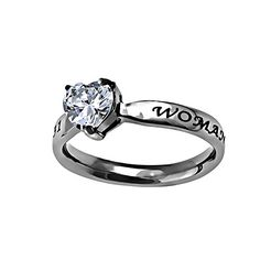 "Christian Womens Stainless Steel Abstinence 3mm Proverbs 31 ""Woman of God"" CZ Heart Solitaire Chastity Ring for Girls - Girls Purity Ring - Comfort Fit Ring"