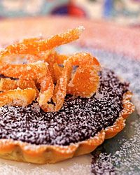 Chocolate Tartlets with Candied Grapefruit Peel Recipe