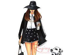 Ilustración dálmata, arte de la pared de moda, sketch de moda, arte de pared elegante, grabado de moda, cartel de moda. Titulado, yo y mi dálmata