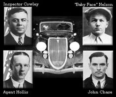 Inspector Cowley, Agent Hollis, Baby Face Nelson, and John Chase with bullet-riddled car