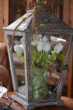 Spring Decor: tulips in a lantern :)
