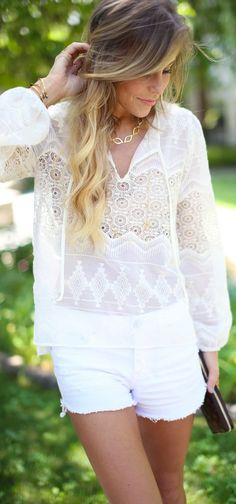 Eight Sixty White Boho Embroidered Semi-sheer Popover by Happily Grey