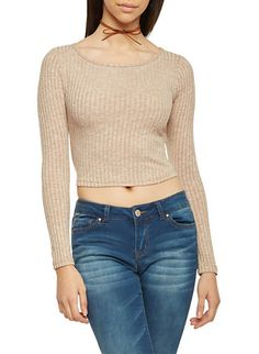 Marled Crop Top with Long Sleeves and Scoop Neck,TAN