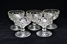 """Vintage Anchor Hocking WATERFORD WAFFLE Set Of 5 Sherbets/Champagne Glasses, 3 5/8"""" From 1938-1944 Collectible Depression Glass by ShabbyCandleAntiques on Etsy"""