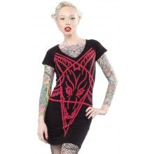 KREEPSVILLE 666 GOATHEAD DRESS BLK/RED