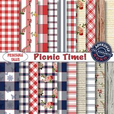 Gingham digital papers Checkered Pages Picnic by PrintableTales