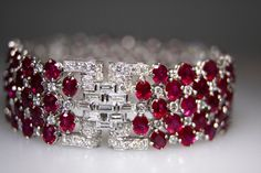 Diamond Ruby Platinum Bracelet | From a unique collection of vintage more bracelets at http://www.1stdibs.com/jewelry/bracelets/more-bracelets/