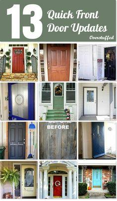 13 Quick Front Door Updates. Great ideas and colors, and wonderful ways to use vinyl on your front door. #overstuffedlife
